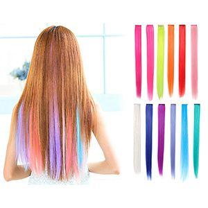 Extensiones luces para cabello múltiples colores 12 pzs. 58cm