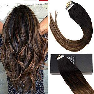 Extensiones marrón con rubio para cabello, 20pzs. por, 50g, 36cm °