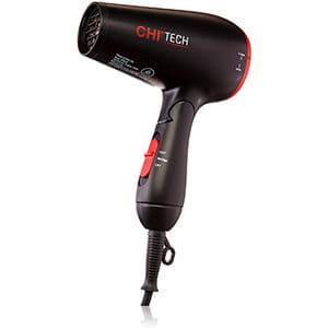 CHI Tech Travel - Calentador de cerámica brillante para el pelo, 1400 W, negro, 1 lb