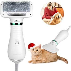 Secador de pelo para mascotas, secador de pelo 2 en 1, cepillo para polvo portátil de 300 W, potente soplador de pelo, mango ergonómico con 2 velocidades de temperatura para perros, gatos, animales pequeños, secadora de cuidado del hogar