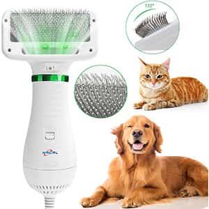Secador de pelo de perro NACRL, soplador de pelo para mascotas con cepillo para polvo rebanador, temperatura ajustable, 2 ajustes y bajo ruido, 2 en 1 portátil, cuidado de mascotas y peinado para perros medianos pequeños y grandes gatos