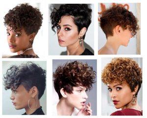 Corte-pixie-cabello chino para mujer