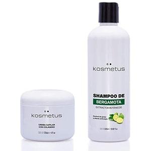 Kit Shampoo de bergamota y crema de colágeno KOSMETUS 120grs. °