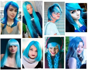 cabello azul pastel