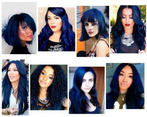 cabello azul oscuro