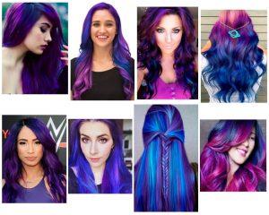 cabello azul y morado