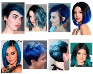 balayage azul cabello corto
