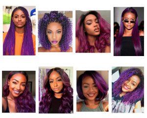 cabello violeta en morenas