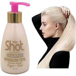 Shampoo de soya y aceite de coco para cabello maltratado kolor shot °
